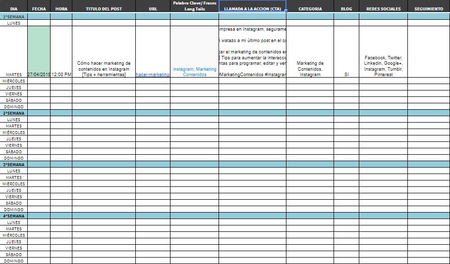 imagen Calendario de contenidos