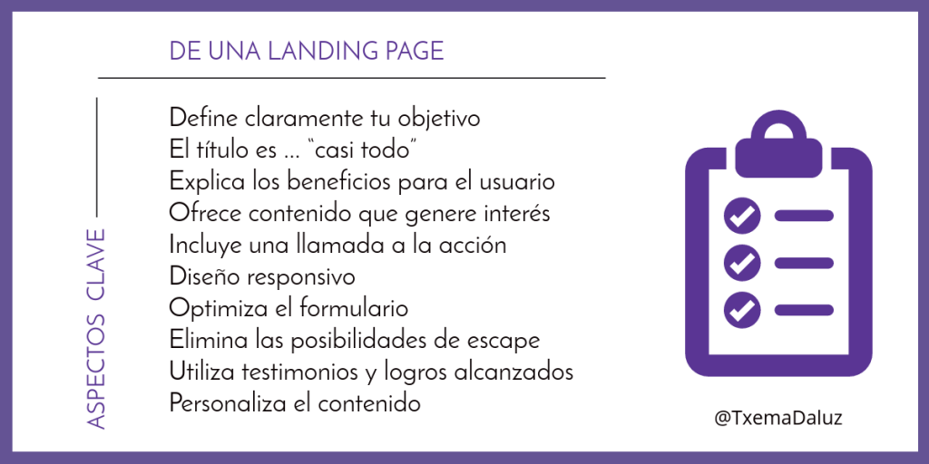 Aspectos Clave de una landing page