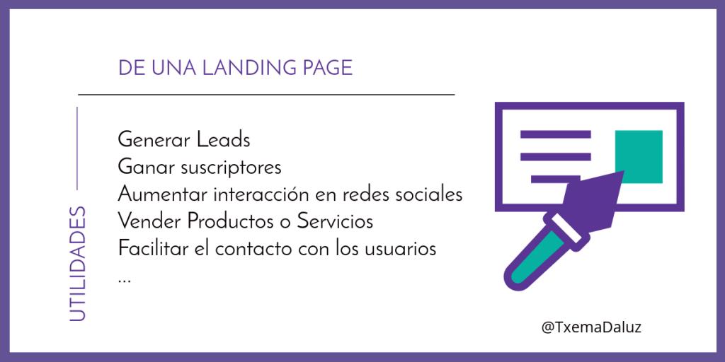 Utilidades de una landing page